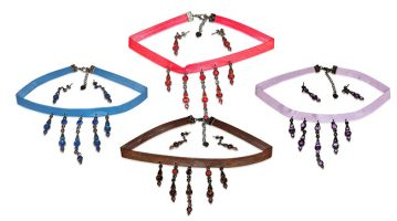 Faux Leather & Gemstone Choker with Dangle Pendant And Earrings.