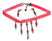 Dangle Pendant And Earrings_Red