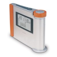 Alarm Clock With Aluminum Front Panel. Jumbo Lcd Displays Full Month Calendar