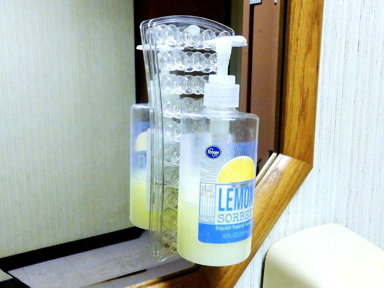 2 Suction Cup Bottle Holders - Sticks To Shower Wall - LiquidationPrice